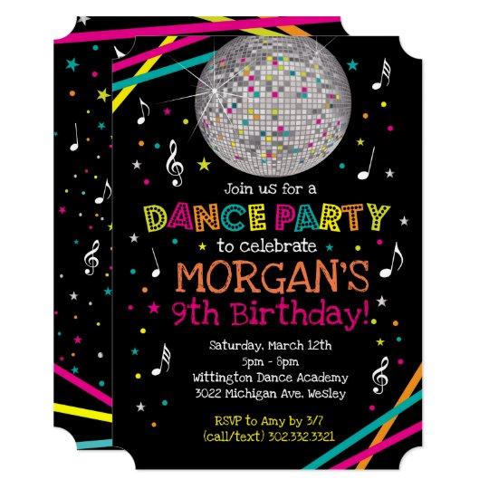 neon glow dance party invitation zazzle com