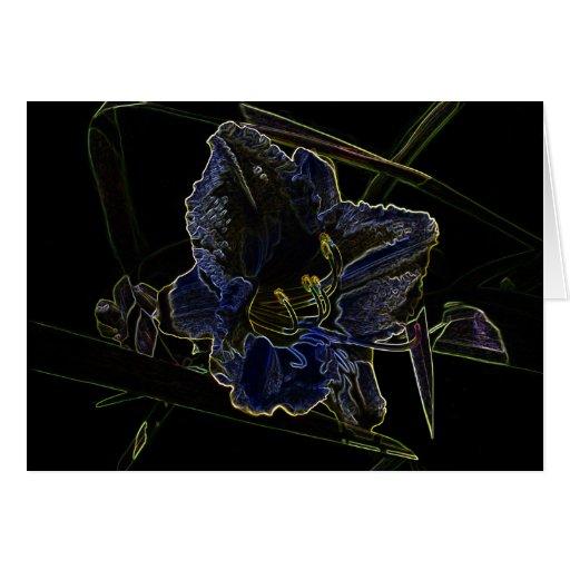 Neon Glow Daylily Flower Greeting Card