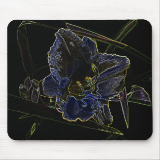 Neon Glow Daylily Flower Mouse Pad