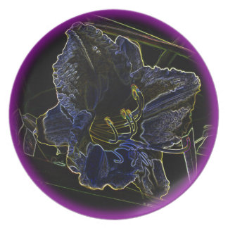 Neon Glow Daylily Flower with Glowing Edges Plates