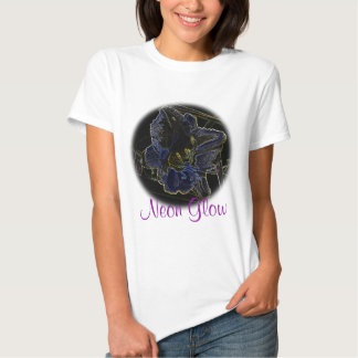Neon Glow Daylily Flower with Glowing Edges Tee Shirt
