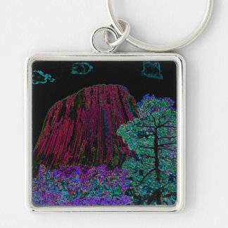 Neon Glow Devils Tower Silver-Colored Square Keychain