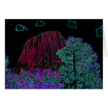 Neon Glow: Devils Tower with Glowing Edges Greeting Card