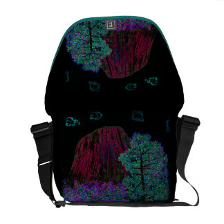 Neon Glow: Devils Tower with Glowing Edges Messenger Bags