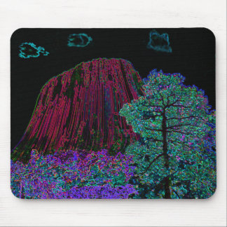Neon Glow: Devils Tower with Glowing Edges Mouse Pad