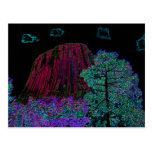 Neon Glow: Devils Tower with Glowing Edges Postcard