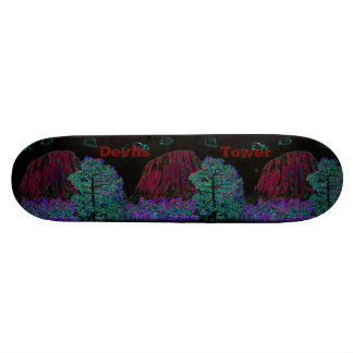 Neon Glow Devils Tower with Glowing Edges Skateboard