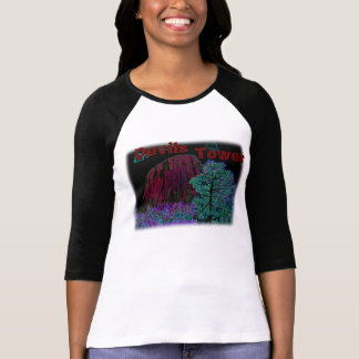 Neon Glow: Devils Tower with Glowing Edges T-Shirt