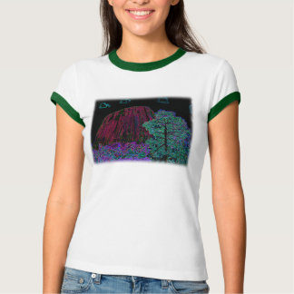 Neon Glow: Devils Tower with Glowing Edges Tee Shirt