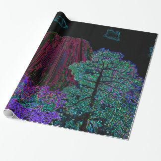 Neon Glow Devils Tower Wrapping Paper
