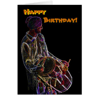 Neon Glow Dhol Drummer birthday card