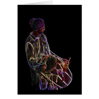 Neon Glow Dhol Drummer blank notelet / card