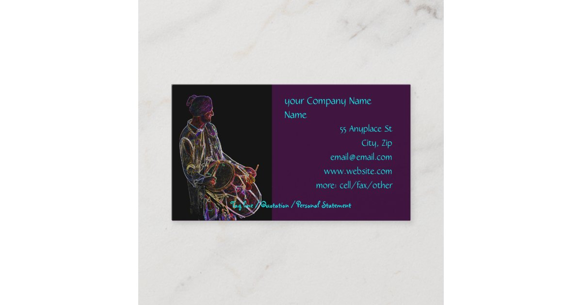 Neon Glow Dhol Drummer business card template | Zazzle.com
