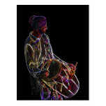 Neon Glow Dhol Drummer post card