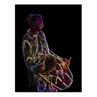 Neon Glow Dhol Drummer post card
