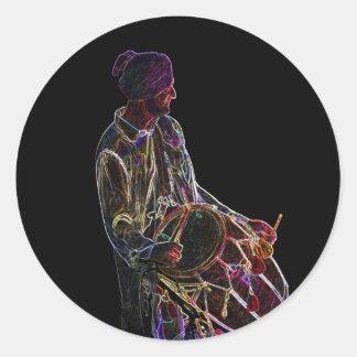 Neon Glow Dhol Drummer stickers