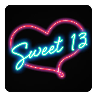 Neon Glow Heart SWEET 13 Birthday Party Invitation