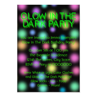 Neon Glow In The Dark Birthday Party Card