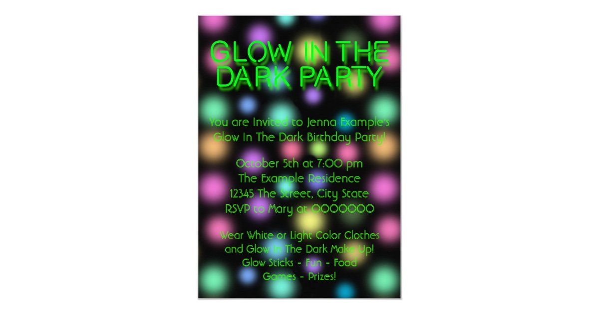 Neon Glow In The Dark Birthday Party Invitation | Zazzle.com