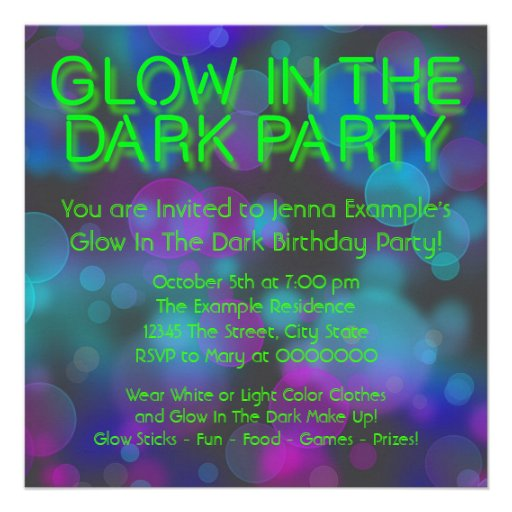 Neon Glow In The Dark Birthday Party Invitations