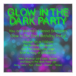 "Neon Glow In The Dark Birthday Party 5.25"" Square Invitation Card"