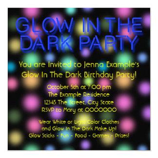 Neon Glow In The Dark Birthday Party Custom Invites
