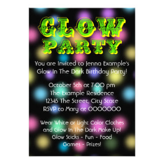 Neon Glow In The Dark Birthday Party Personalized Invite