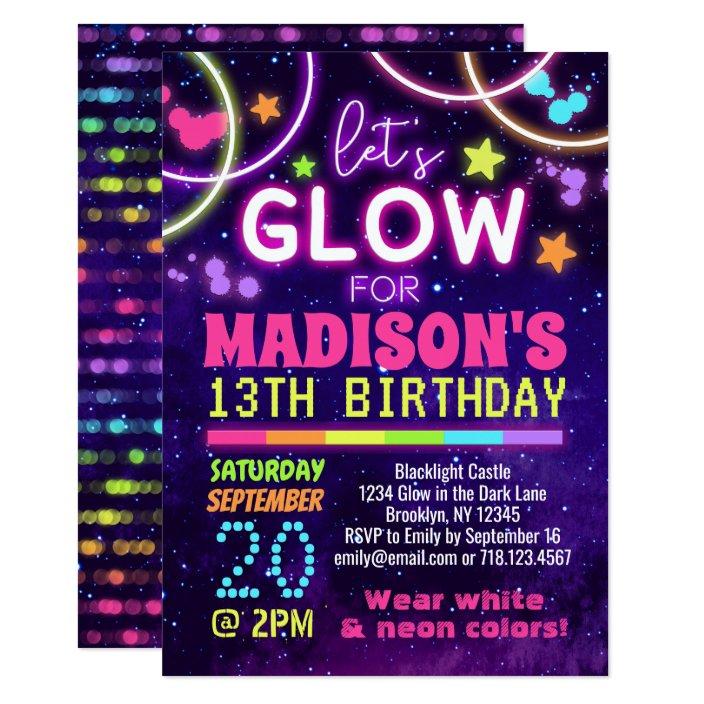 Neon Glow In The Dark Glow Party Birthday Invitation Zazzle Com