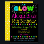 "Neon Glow in the Dark Kids Birthday Party Invite<br><div class=""desc"">Having a Glow in the Dark Black Light Party? This invitation is the perfect way to get all your guests excited about your party!</div>"
