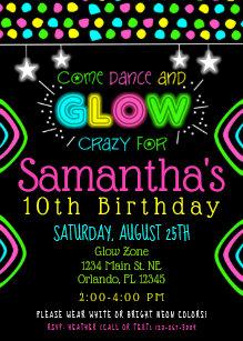 Neon Colors Invitations