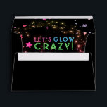 """Neon Glow in the Dark Party Kids Birthday 5X7 Envelope<br><div class=""""desc"""">5x7 black glow party envelope lined with bright, random stars that look like glitter in shades of silver, gold, red, pink, and purple. Reads &#39;Let&#39;s Glow Crazy!&#39; in neon lights effect blue, green and pink letters. Cute, festive party envelopes for glow in the dark birthdays, neon party colors, black light...</div>"""
