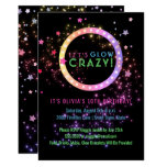 Neon Glow in the Dark Party   Kids Birthday Card<br><div class='desc'>Bright, fun neon colors glow party invitations- Reads &#39;Let&#39;s Glow Crazy&#39; at the top in shades of neon marquee lights look lettering in bright neon pink, blue, and green. Framed in pastel pinks, purples, and golds neon lights look circle frame. Personalized name of honoree and event below in matching neon...</div>