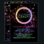 """Neon Glow in the Dark Party   Kids Birthday Invitation<br><div class=""""desc"""">Bright, fun neon colors glow party invitations- Reads &#39;Let&#39;s Glow Crazy&#39; at the top in shades of neon marquee lights look lettering in bright neon pink, blue, and green. Framed in pastel pinks, purples, and golds neon lights look circle frame. Personalized name of honoree and event below in matching neon...</div>"""