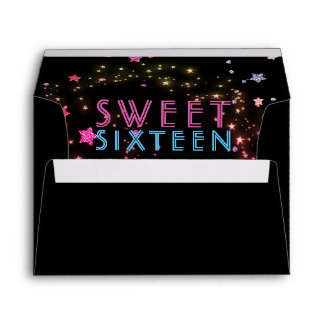 Neon Glow in the Dark Party Sweet Sixteen Birthday Envelope