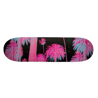 Neon glow Palm Trees Skate board deck skateboard