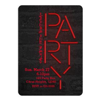 Neon Glow Red PARTY Brick Wall Urban Invitation