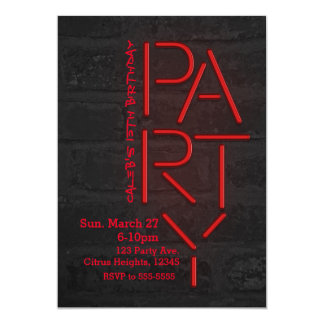 Neon Glow Red PARTY Brick Wall Urban Invitation