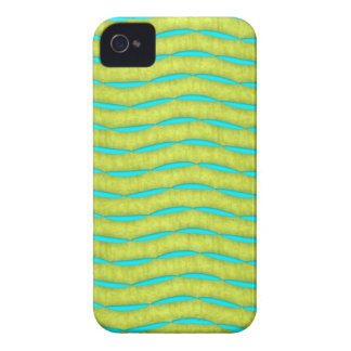 Neon Glow Yellow and Turquoise Bright Fun Pattern iPhone 4 Cover