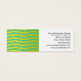 Neon Glow Yellow and Turquoise Bright Fun Pattern Mini Business Card