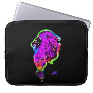 Neon Glowing Fierce Lion  Laptop Sleeve