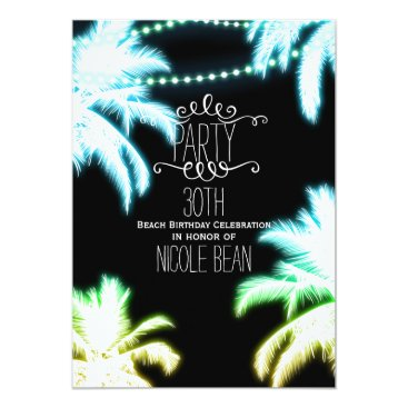 Beach Themed Neon Glowing Palm Trees Beach Party Summer Card