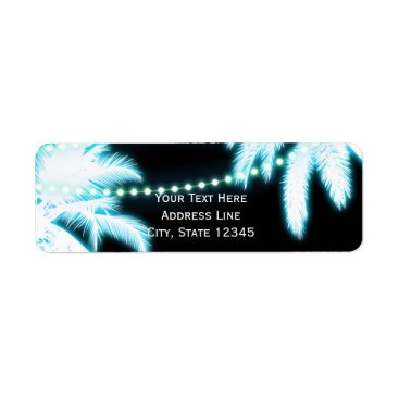 Beach Themed Neon Glowing Palm Trees Beach Party Summer Label