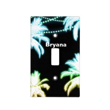 Beach Themed Neon Glowing Palm Trees Beach Party Summer Light Switch Cover