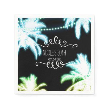 Beach Themed Neon Glowing Palm Trees Beach Party Summer Paper Napkin
