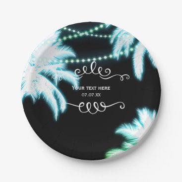 Beach Themed Neon Glowing Palm Trees Beach Party Summer Paper Plate
