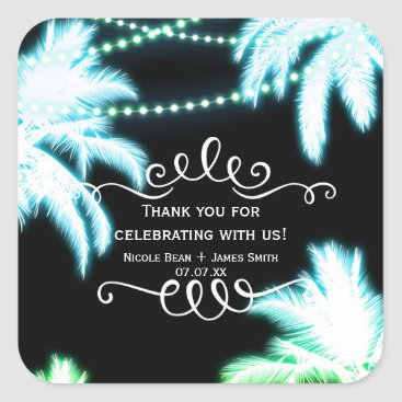 Beach Themed Neon Glowing Palm Trees Beach Party Summer Square Sticker