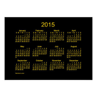 Neon Gold 2015 Wall Calendar Posters