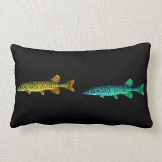 Neon Gold Yellow, Blue Shinny Long Fish and  Black Lumbar Pillow