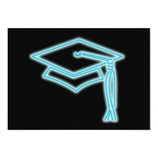 Neon Grad Cap Light Blue Card