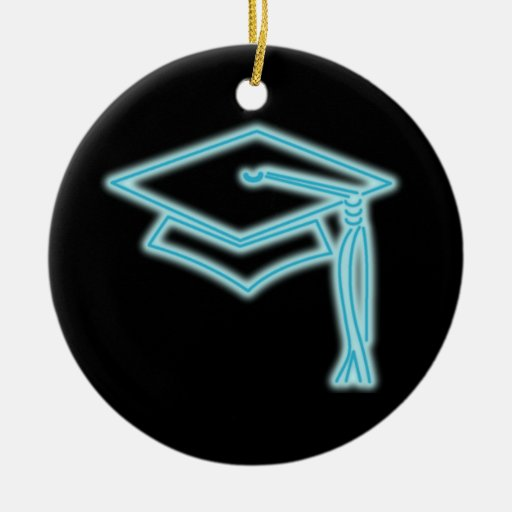 Neon Grad Cap Light Blue Double-Sided Ceramic Round Christmas Ornament